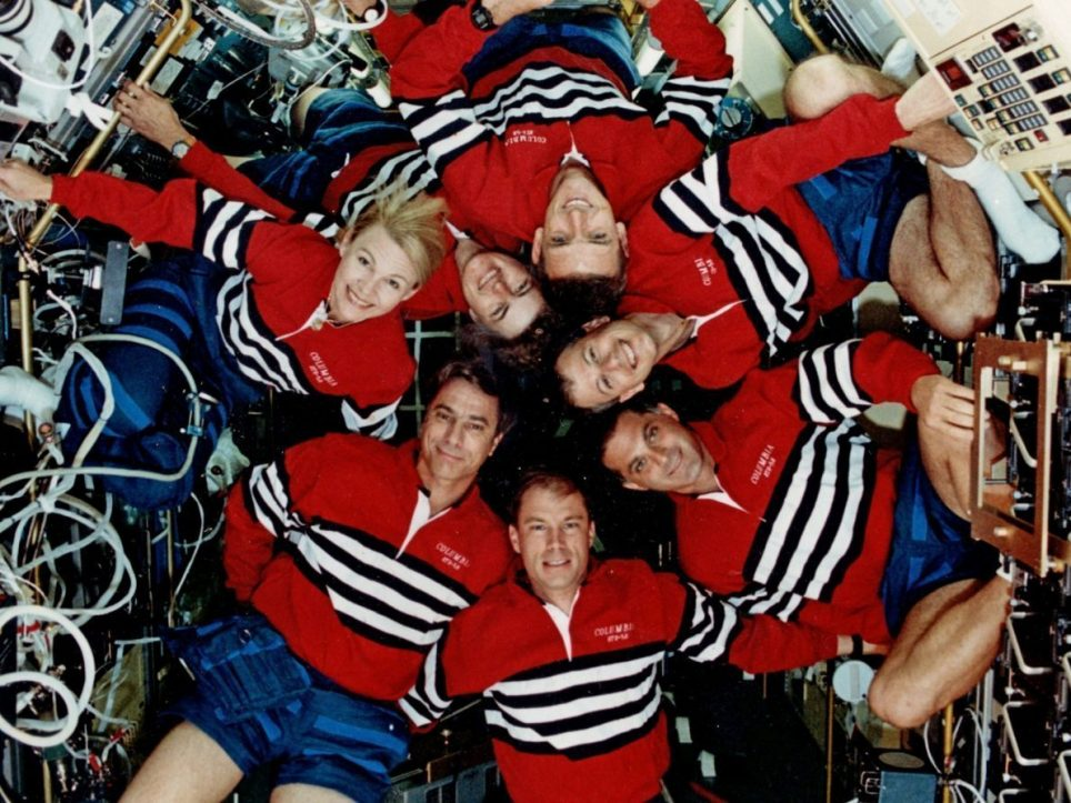 Seven crew members on the Shuttle